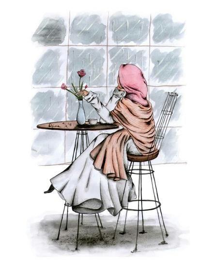 Gambar lukisan wanita muslimah