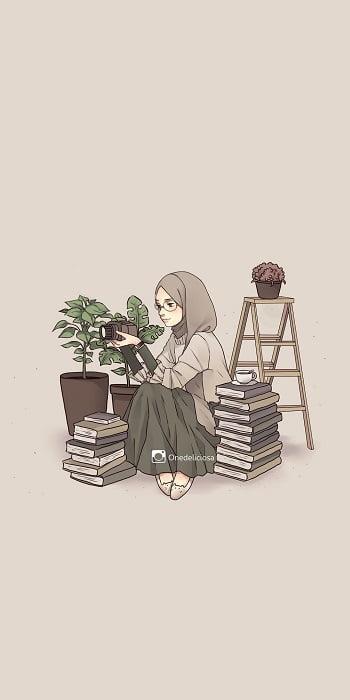 Foto kartun muslimah aesthetic