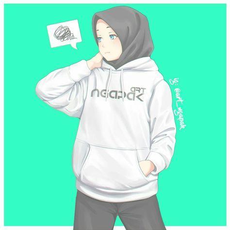 Kartun muslimah memakai Hoodie