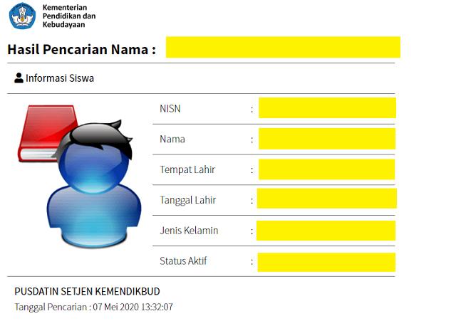 Contoh Nomor Induk Siswa Nasional